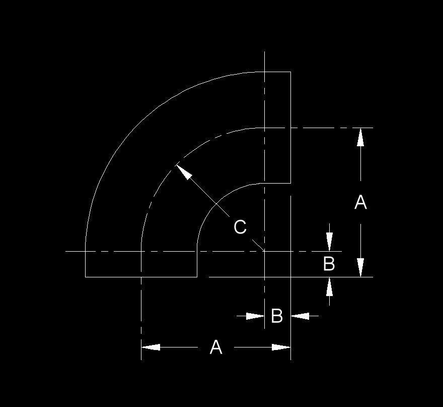 Elbow - 90 Degree, Short Radius, Long Tangent, Buttweld