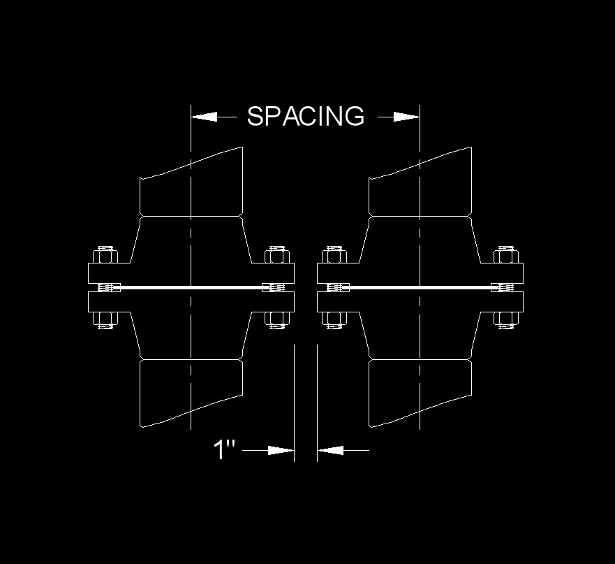 data pipe spacing flange to flange