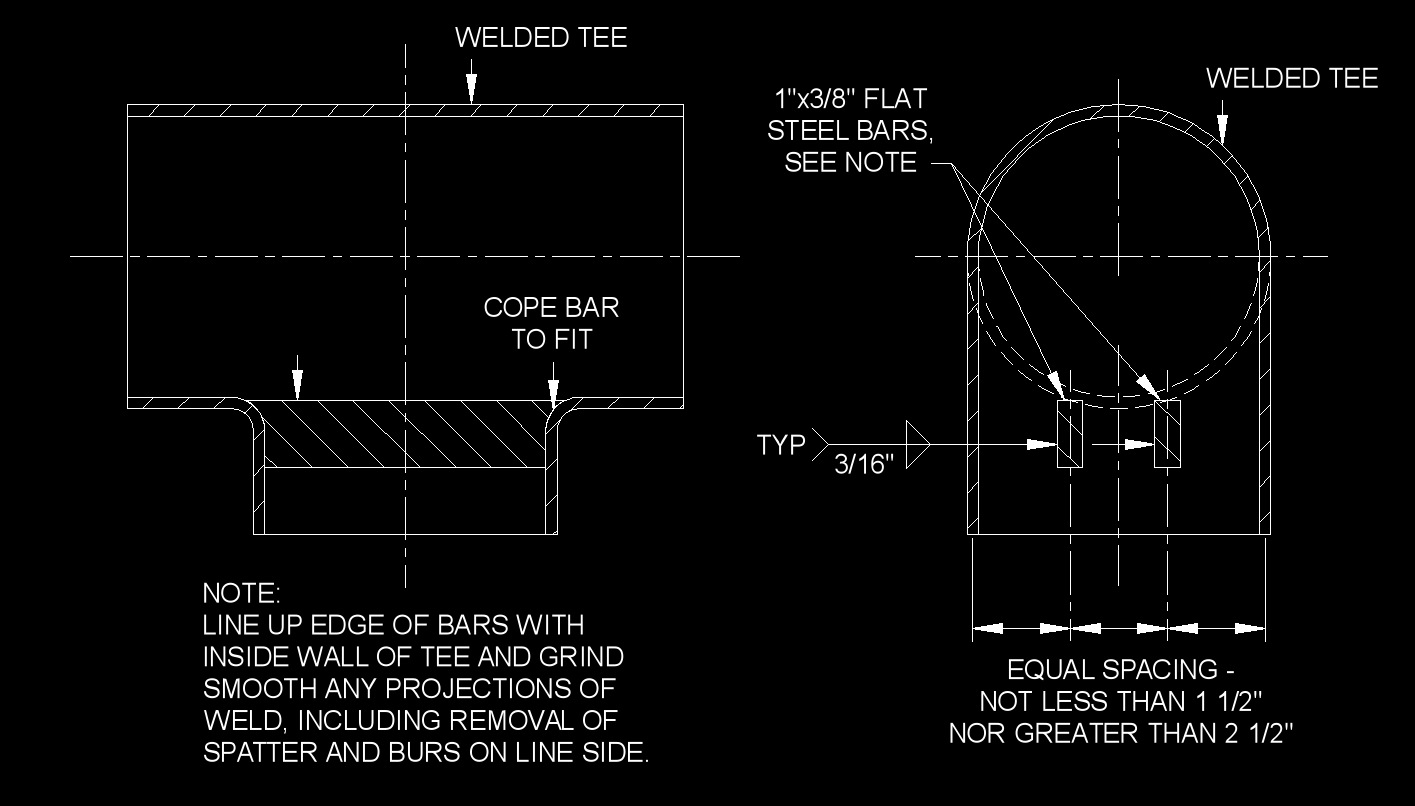 Barred Tee Piping Layout Requirements