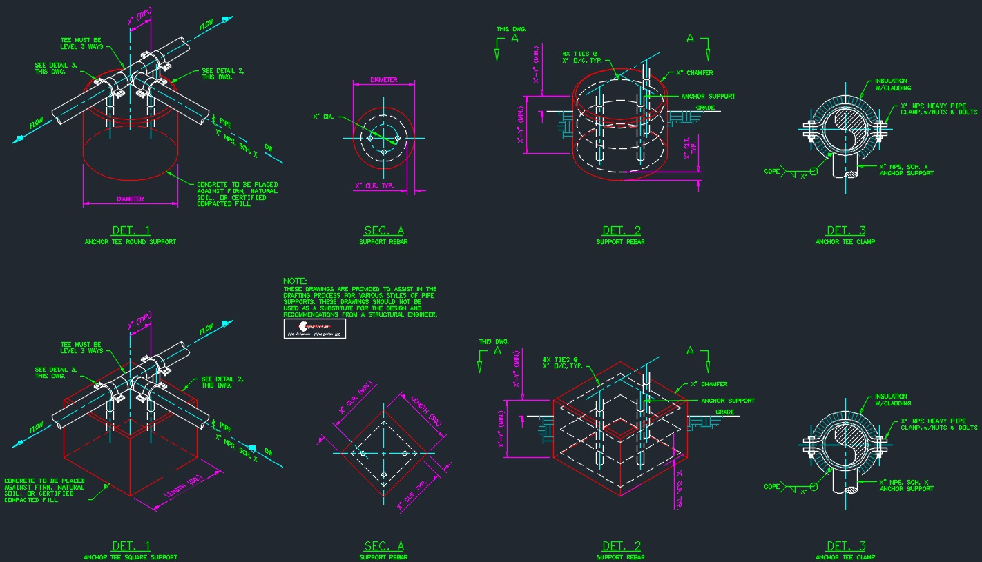 Pipe Support Drawing Package Piping Layout Autocad