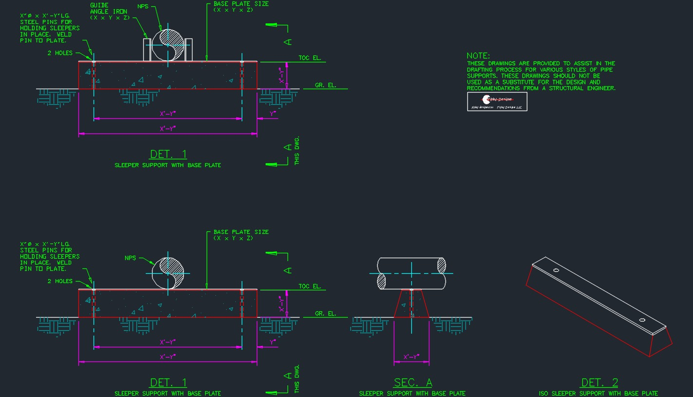 Pipe Support Drawing Package Piping Layout Autocad Sleeper Details